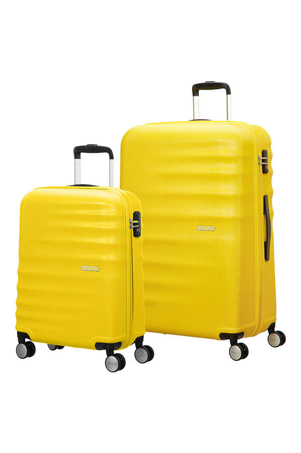Conjunto 2 Malas de Viagem 55 + 77cm c/ 4 Rodas Amarelo - Wavebreaker | American Tourister