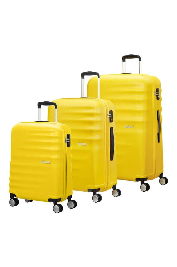 Conjunto 3 Malas de Viagem 55 + 67 + 77cm c/ 4 Rodas Amarelo - Wavebreaker   American Tourister